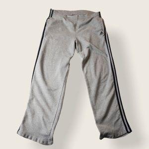 Adidas Men's Grey 3 Stripe Track Pants - Sz Medium